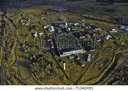 Aerial view over glass factory in Valmiera