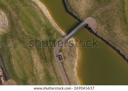 Aerial view over golf field in Poland