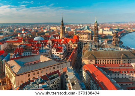 Aerial view over Hofkirche, Royal Palace and roofs of old Dresden, Saxony, Germany - stock photo