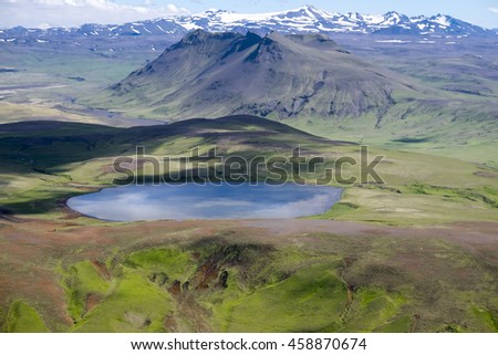 Aerial view over Iceland and a volcano lake