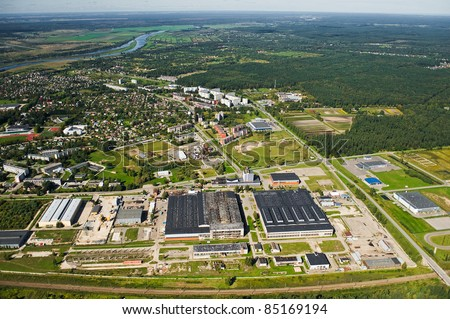 aerial view over industrial part of Jelgava city - stock photo