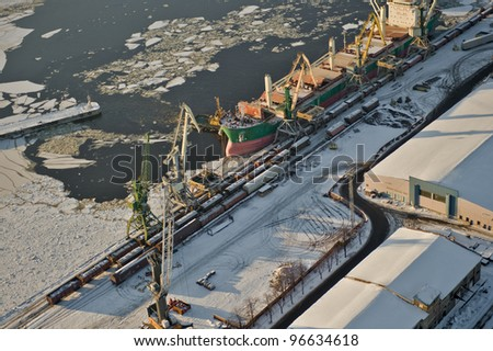 aerial view over industrial port of Riga city - stock photo