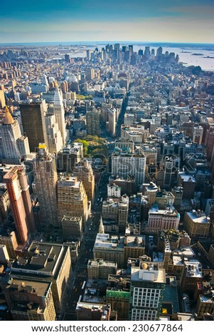 Aerial view over lower Manhattan, New York, United States of America - stock photo