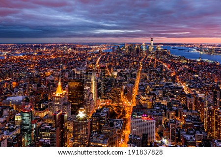 Aerial view over New York at dusk - stock photo