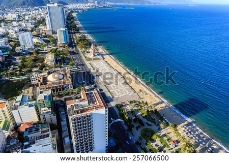 Aerial view over Nha Trang city, Vietnam taken from rooftop - stock photo