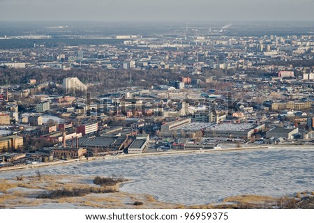 aerial view over Riga city suburb