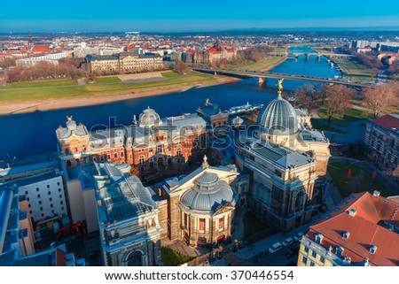 Aerial view over river Elbe, bridges and Academy of Fine Arts in Dresden, Saxony, Germany - stock photo