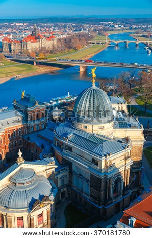 Aerial view over river Elbe, bridges and glass dome of Academy of Fine Arts or Lemon Squeezer, Dresden, Saxony, Germany - stock photo