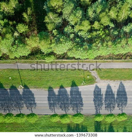aerial view over road  - stock photo