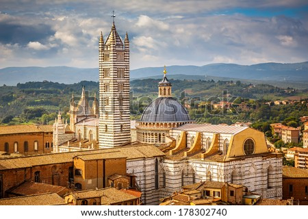 Aerial view over Siena: Siena Cathedral, Italy - stock photo