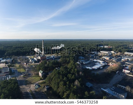 Aerial view over small power plant in Druskininkai industrial part of town, Lithuania.