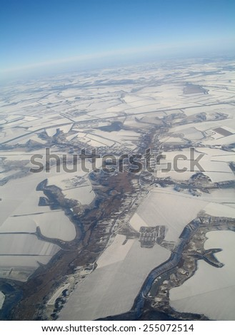aerial view over the agricultural plant - stock photo