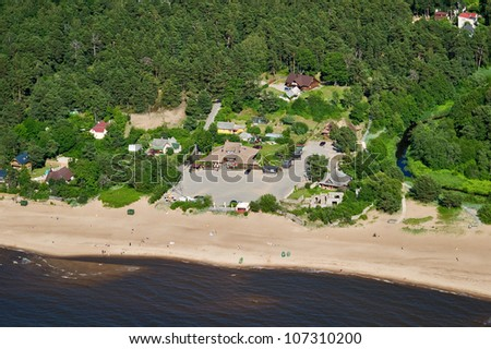 aerial view over the baltic coast at the Riga Gulf - stock photo