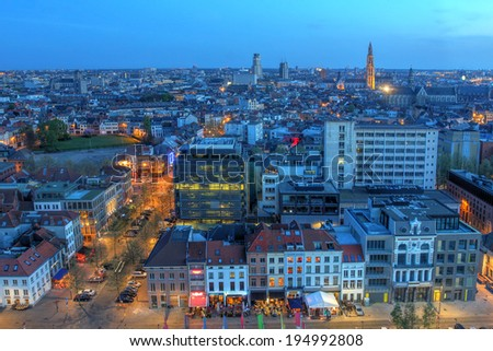 Aerial view over the city of Antwerp in Belgium from the MAS tower at twilight time. - stock photo