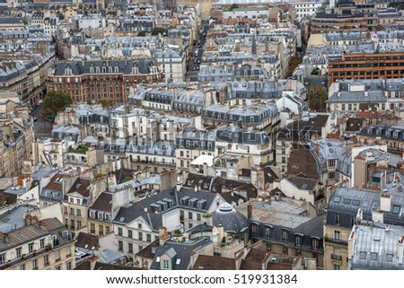 aerial view over the city of Paris, France