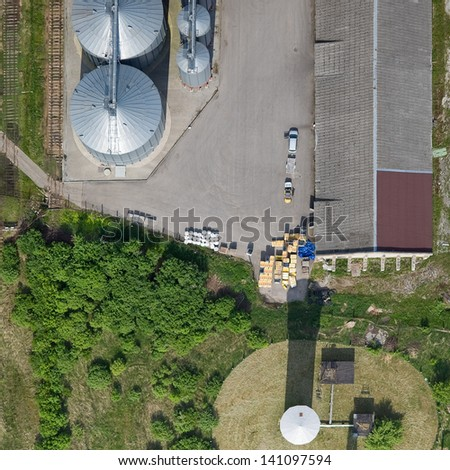 aerial view over the farm - stock photo