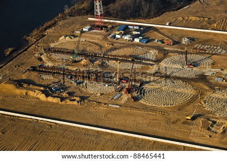 Aerial view over the fertilizer's terminal under construction