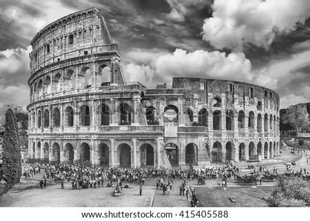 Aerial view over the Flavian Amphitheatre, aka Colosseum in Rome, Italy