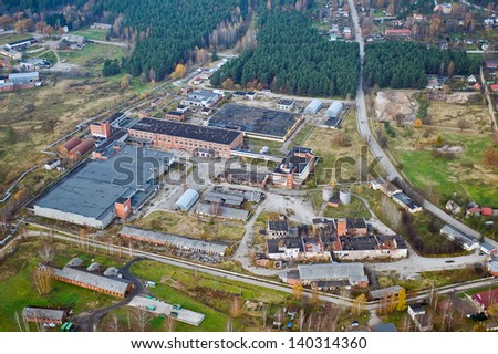 aerial view over the industrial part of the city - stock photo