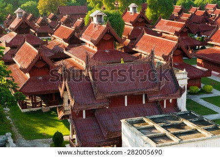 Aerial view over the  Mandalay Palace at late afternoon - stock photo