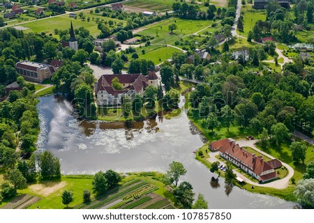 aerial view over the manor - stock photo