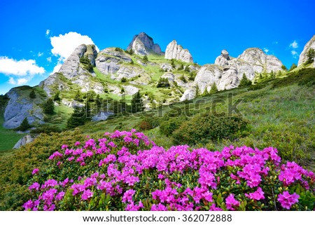 Aerial view over the mountain peaks. Beautiful mountain wallpaper - stock photo