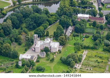 aerial view over the old palace - stock photo