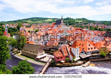 Aerial view over the old Town of Cesky Krumlov, Czech Republic - stock photo