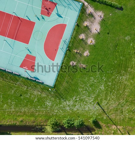 aerial view over the playground - stock photo