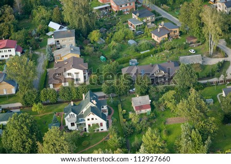 aerial view over the private cottages