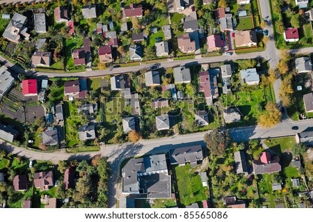 aerial view over the private houses - stock photo