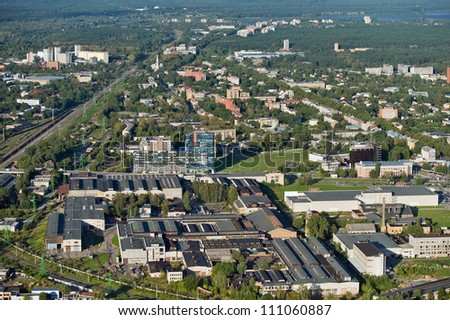 Aerial view over the Riga city