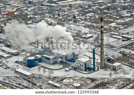 aerial view over the Riga power station - stock photo