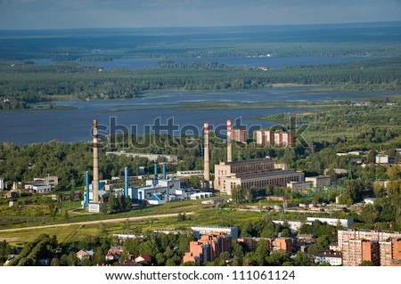 Aerial view over the Riga thermal power plant - stock photo