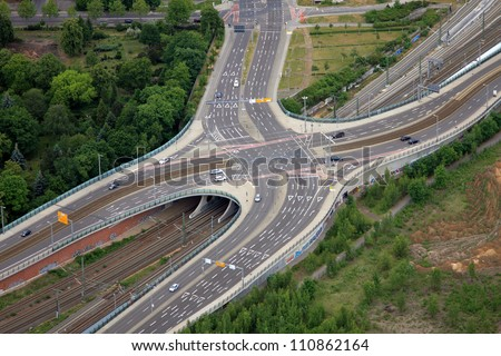 aerial view over the road - stock photo