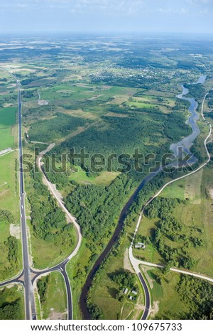 aerial view over the road and the river