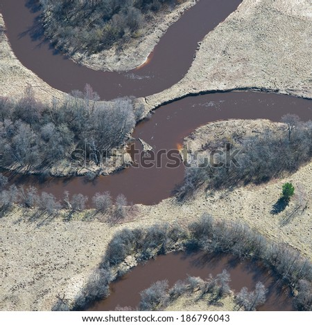 Aerial view over the small river