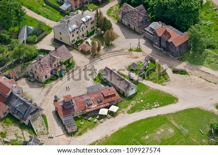 aerial view over the small town - stock photo