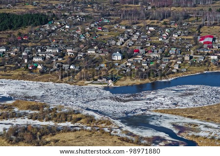 aerial view over the small town at the river