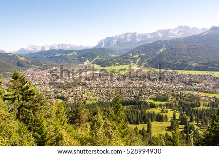 Aerial view over the village of Garmisch in the alps of Bavaria (Germany)