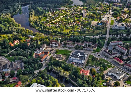Aerial view over Valmiera town, Latvia - stock photo