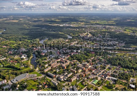 Aerial view over Valmiera town, Latvia