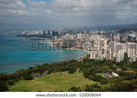Aerial view over Waikiki as seen from the top of Diamond Head, a crater of a dormant volcano
