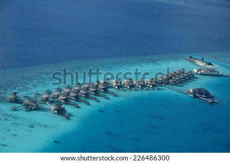 Aerial view overwater resorts of maldives - stock photo