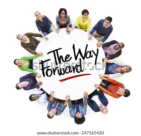Aerial View People Community The Way Forward Concepts - stock photo