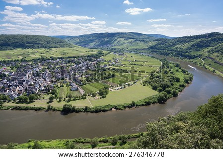 Aerial view river Moselle near Punderich in Germany - stock photo