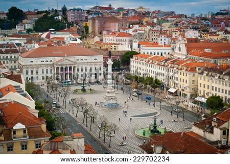 Aerial view Rossio square, Baixa, Lisbon, Portugal - stock photo