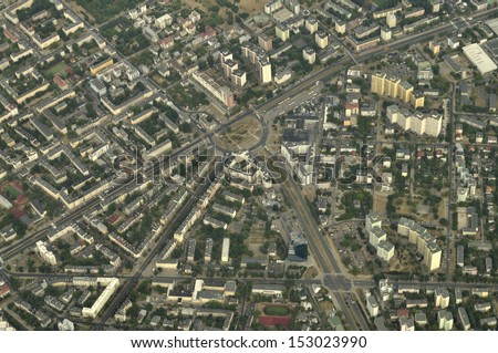 Aerial view - Roundabout Wiatraczna, Warsaw, Poland - stock photo