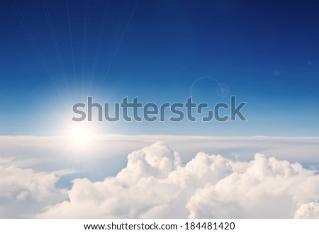 aerial view sky and clouds  - stock photo