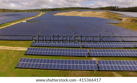 aerial view Solar panels Photovoltaic system bird's-eye view